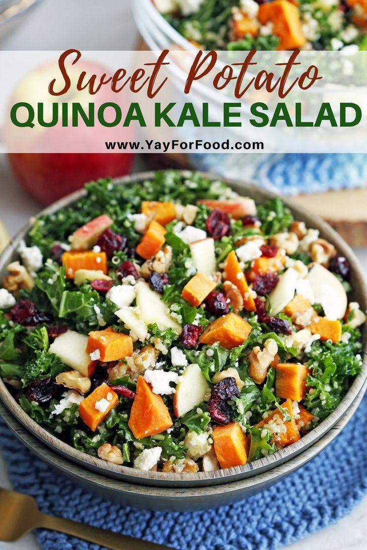 Sweet Potato Quinoa Kale Salad Recipe Vegetarian Salad Recipes Quinoa Kale Salad Recipes Healthy Salad Recipes