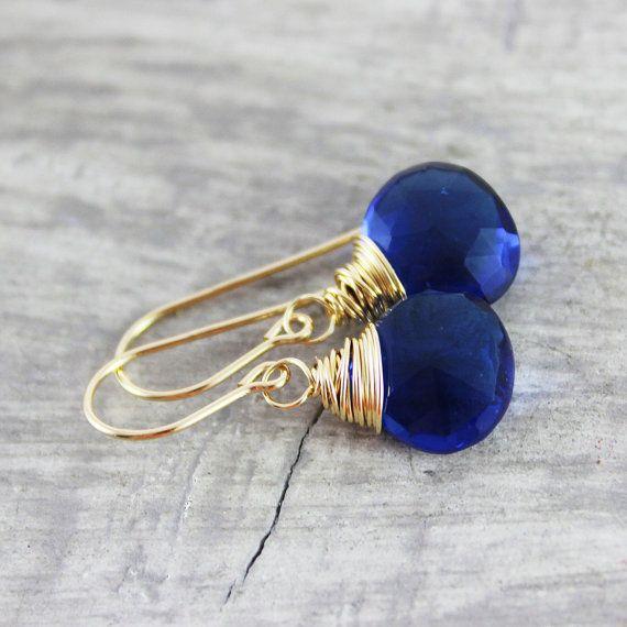 Azul azul pendientes aretes de oro pendientes de piedras