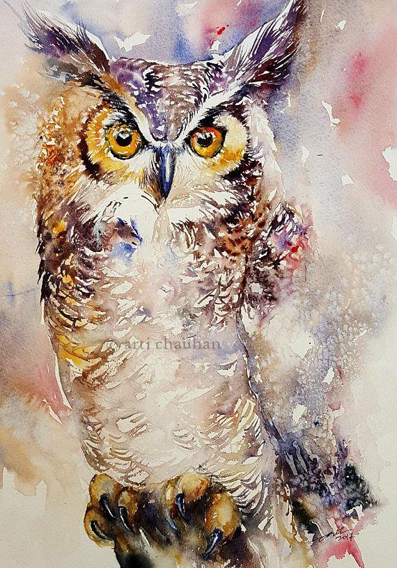 Owl Painting Original Art Watercolor Painting Wall Decor Bird