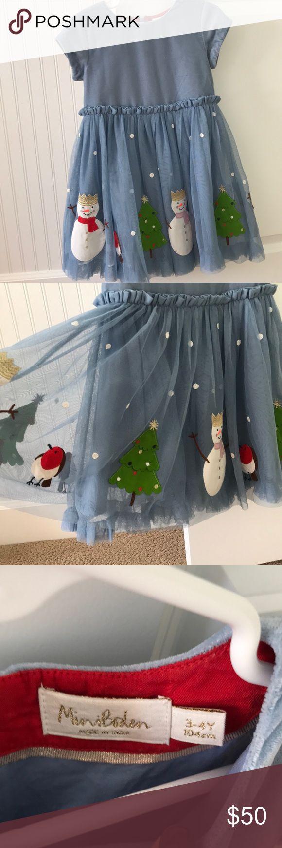 Mini Boden dress Stunning blue with winter patches velvet and tulle skirt dress for Christmas. Worn once for Christmas Eve Mini Boden Dresses Formal