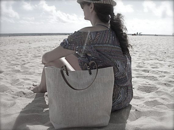 Beach Bag, Natural Linen Tote Bag,  Linen, Beach Bag, Large, Casual Tote, Everyday Tote, Simple, Casual Handbag