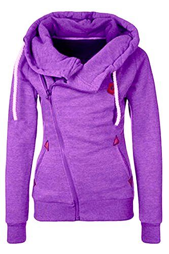 Kisscy Womens Oblique Zip Up Hand Pockets Athletic Hoodies Sweatshirt Purple XL >>> Check out the image by visiting the link.(This is an Amazon affiliate link and I receive a commission for the sales)