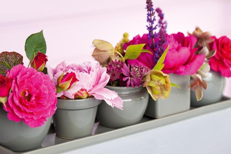 Zomers: Bloemen op je tuintafel, mooi geschikt in deze kleine vaasjes