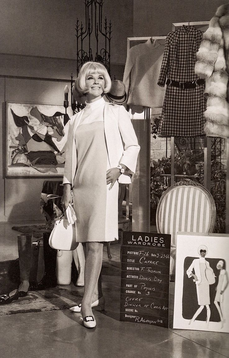 Always perky DORIS DAY wardrobe test shots for CAPRICE (1967) An industrial designer causes chaos when she sells a secret cosmetics formula to a rival company (imdb) Mod inspired fashions by Ray Aghayan. Costume change #3 for 'office & dinner at Chris' appartment' scenes. (please follow minkshmink on pinterest) #dorisday #wardrobetest #caprice #sixties #mod
