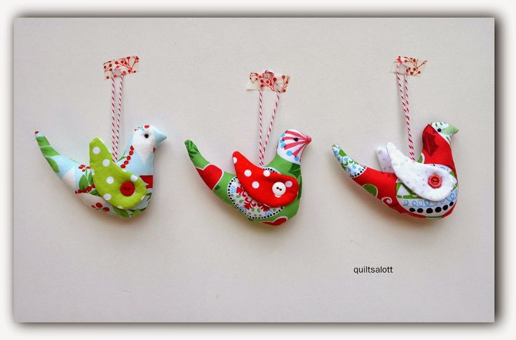 Janet made these Christmas Bird Decorations.  Aren't they great!  She reduced the pattern size down to 70% to make them into little birds!  Cute!  Read more about it on her blog post here: http://quiltsalott.blogspot.com.au/2014/12/a-little-christmas-project.html You can get the pattern from my Etsy store here: https://www.etsy.com/au/shop/JodysCraftyCreations