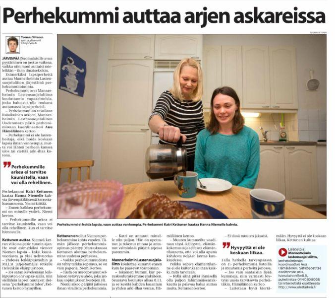 MLL:n Uudenmaan piiri etsi perhekummeja Uudellamaalla ja Keski-Uusimaa kirjoitti Perhekummeista lehdessään 3.11. www.olettarkea.fi