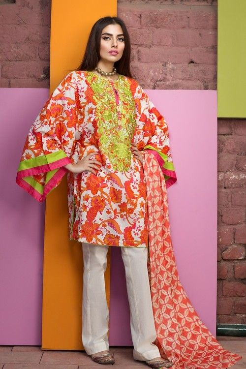 Khaadi 3 Piece Stitched Embroidered Lawn Suit - B17207-A - ORANGE - libasco.com    #khaadi #khaadionline #khadiclothes #khaadi2017 #kaadisummer