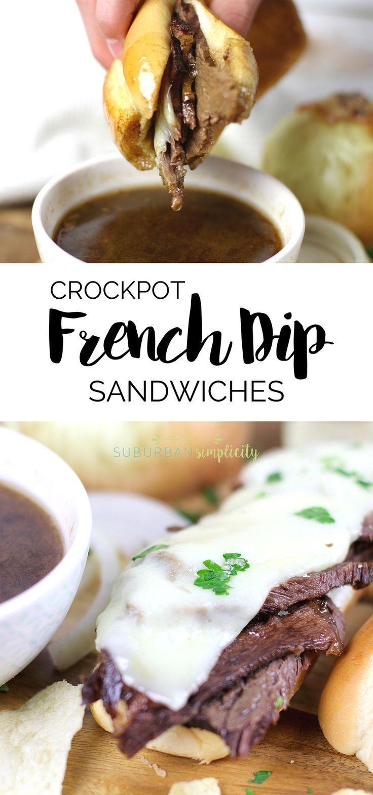 Crockpot French Dip Sandwiches are an easy dinner idea that you'll fall in love with. Tender beef atop a toasted sandwich roll with an incredibly delicious dipping sauce make this slow cooker recipe a winner! #crockpotrecipe #slowcookerrecipe via @https://www.pinterest.com/Erin_Simplicity/