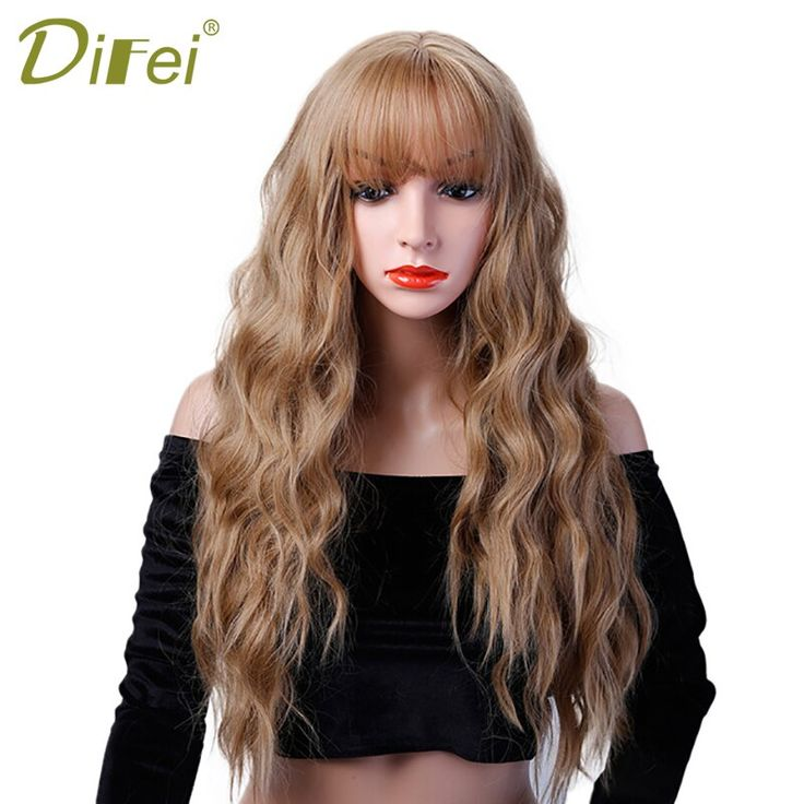 "DIFEI 26"" Long Curly Colored Hair Wigs Heat Resistant Synthetic Wigs For Black…"