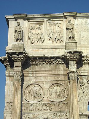 Statues of Dacians surmounting the Arch of Constantine[1] (i.e. southern side, left)