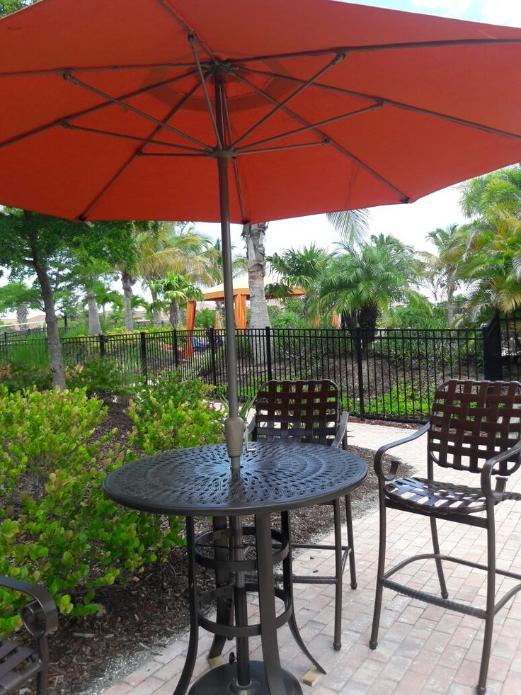 New Powder Coated Aluminum bar set with new 7 foot market style Umbrella  By Casual Craft Patio Furniture