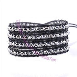 Silver Wrap Bracelet by Karma Se7en. Black leather & silver beads.