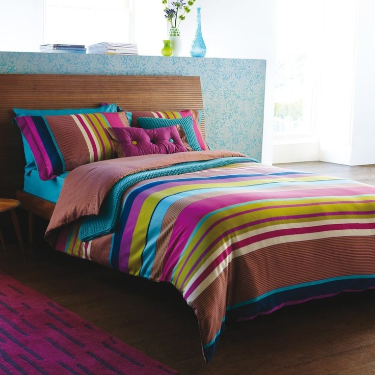 harlequin bali bed linen set quality multi coloured stripe bedding set at bedeckhome - Multi Bedroom Decor