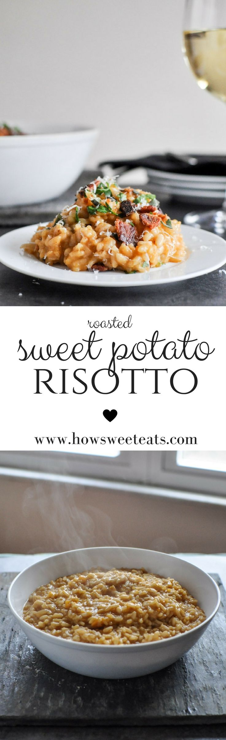 Roasted Sweet Potato Risotto with Brown Butter and Bacon I howsweeteats.com @howsweeteats