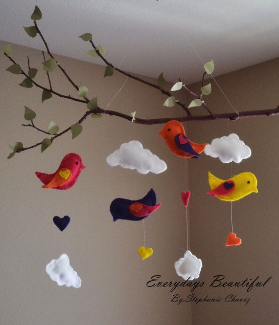 Love Birds Tree Mobile /kids Room Decor by EverydaysBeautiful, $27.00