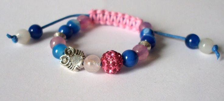 Agate and rose quartz children bracelet Gift for girl Owl Mineral jewel Handmade Shamballa bracelet Sliding knot Semi-precious stones by dorijewelnook on Etsy