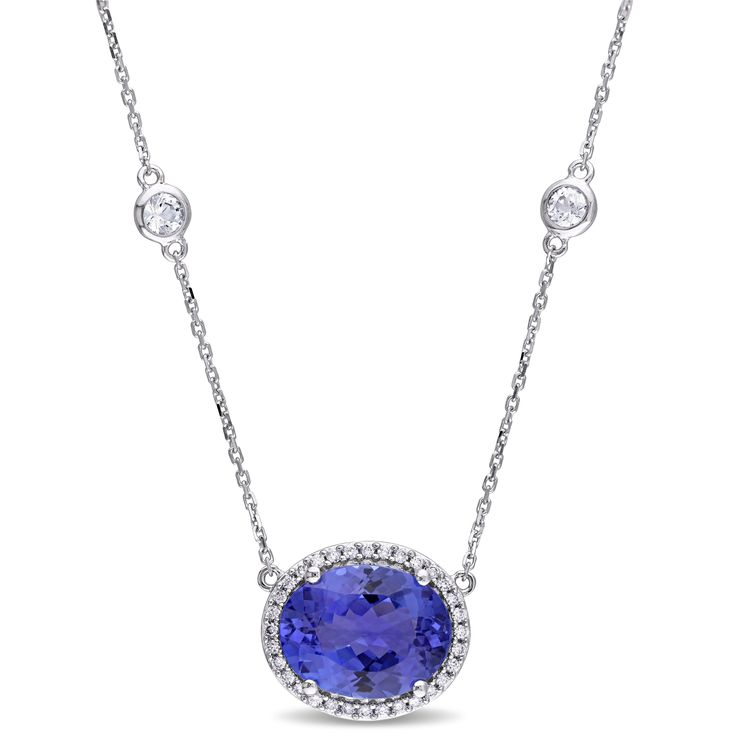 Miadora Signature Collection Tanzanite White Sapphire and 1/6ct TDW Diamond Station Necklace in 14k White Gold