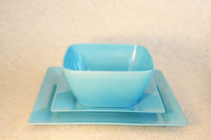 Plastic/Melamine square dining setting (3 colours), Assistive Style $10