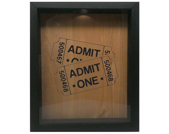 Shadow Box Ticket Holder 9x11 - Admit One Tickets ~ Welcome to Wicked Good Decor ~ We are located in Dracut, MA USA! Up for sale is a handmade wooden shadow box sign. A great way to store your keepsake tickets. Now with the easy to use hole in the top, just walk up and drop the