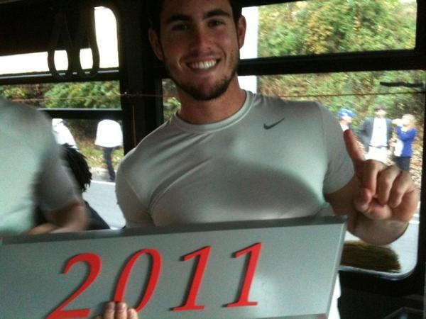 #UGA quarterback Aaron Murray after winning the SEC East division. GO #DAWGS!!