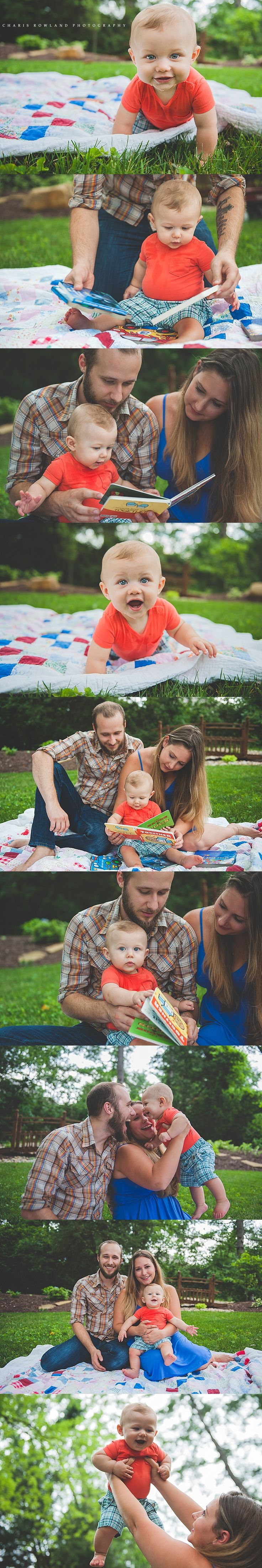 baby boy photo shoot, 6 month boy photo ideas, 9 month photo ideas, lifestyle photography, backyard session, quilt, books, baby photography, baby with mom and dad,  St. Louis family photographer, Charis Rowland Photography