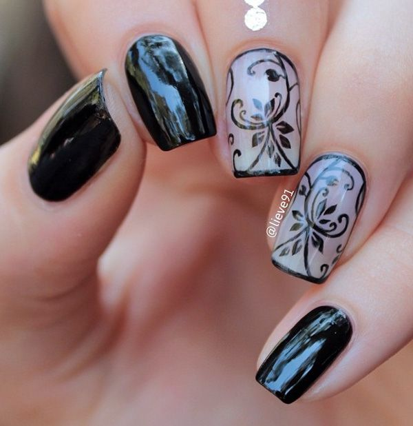Images Of Nail Polish Designs: Nail Design, Flower And Black Polish