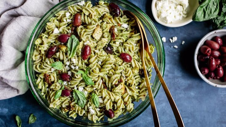 Pesto Chicken Pasta Salad -   An easy and delicious recipe for Pesto Salad loaded with chicken, sun-dried tomatoes, Kalamatas and feta cheese. It will become one of your favorites.