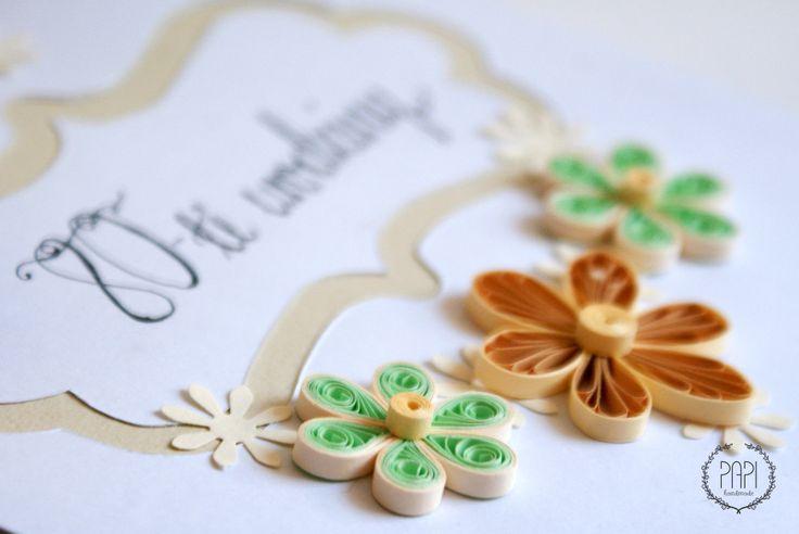 Spersonalizowana ręcznie robiona kartka handamde urodzinowa z kwiatami quilling
