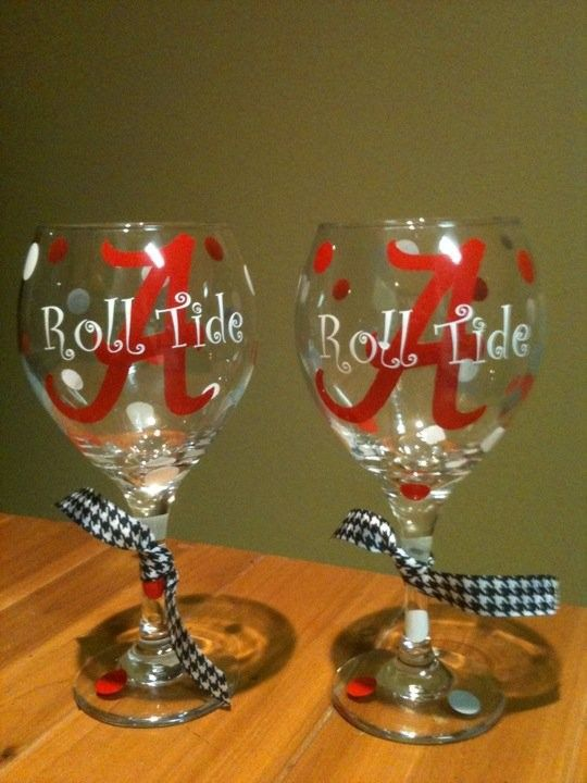 roll tide wine glasses - I think I can make these!