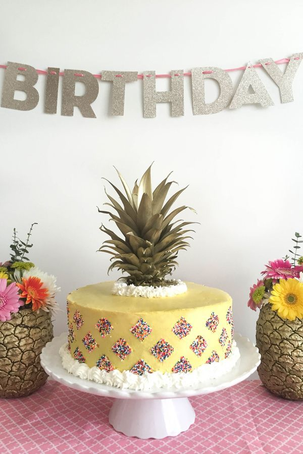 Pineapple Cake with Sprinkles. Perfect for a Pineapple themed birthday party.