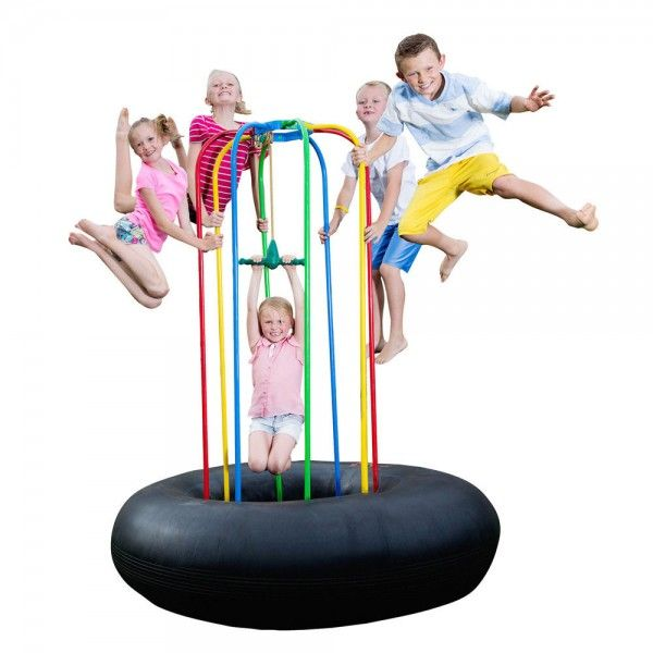 Jungle Jumparoo | Our 6-1/2 ft. Jungle Jumparoo is designed for ages 2 years & up. It is perfect for backyards, indoor playrooms, pre-schools, daycare centers and playgrounds. Includes Rope Swing and Turret Sprinkler. The Jungle Rope Swing is a trapeze that attaches to the upper frame and allows for children to swing, twist and spin without tangled rope. This product is perfect for all seasons. It has quickly become a favorite addition to the Jungle JumpaRoo. Shop at SkyMall.com!