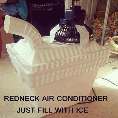 Actually, that's really clever...I can see that it would put out cool air if you're sitting close enough to it.