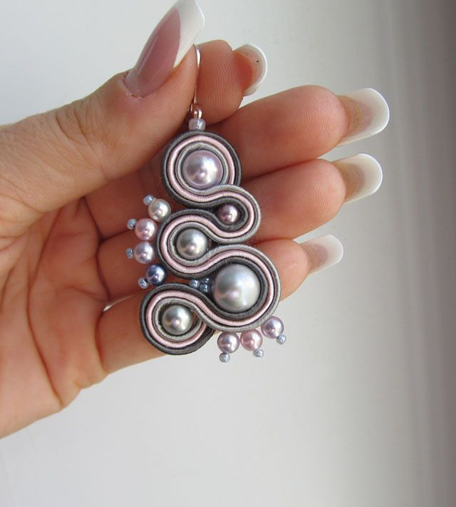 "17.07.2012 Soutache Earrings ""Sunrise"".  $20"