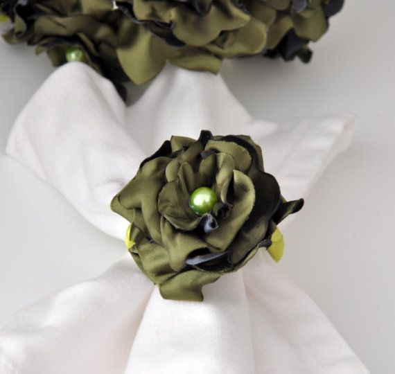BIG SALE Green Napkin Rings by Satin Fabric Flowersset by DOGAART, $30.00