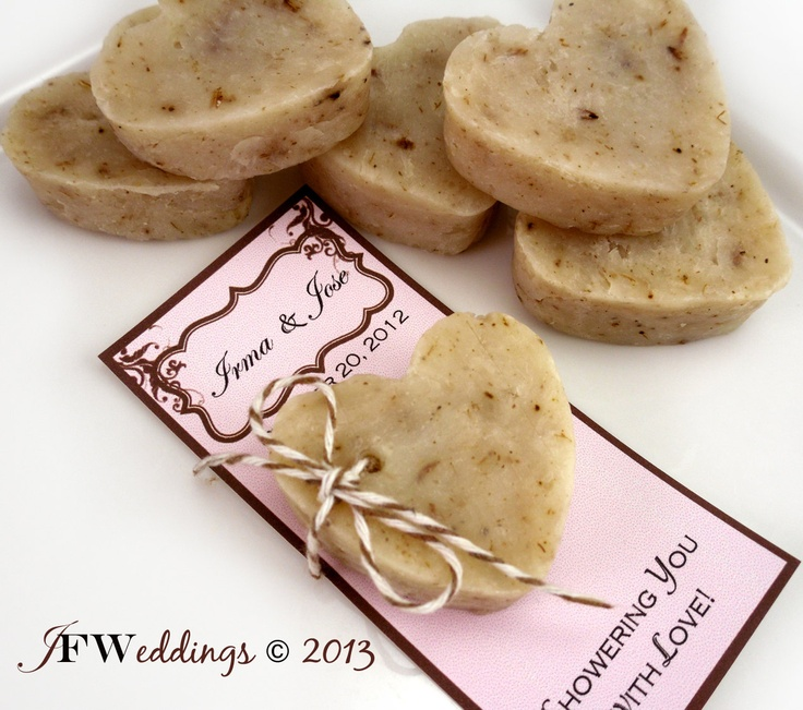 10 Vegan Custom Heart Soap Favors -  Herbal Lavender Buds - Handmade Wedding - Bridal Shower - Birthday Party Favors -  Made in 7 days. $17.50, via Etsy.