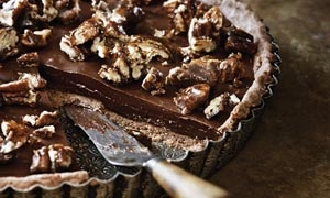 Pecan and Chocolate Tart (add some bourbon whipped creme fraiche)