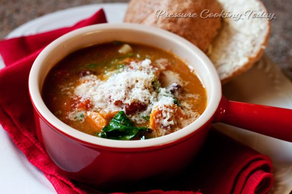 Pressure Cooker Minestrone Soup with Basil Pesto Recipe Soups with olive oil, onions, garlic, carrots, celery, diced tomatoes, vegetable stock, bay leaves, salt, pasta, baby spinach, kidney beans, freshly ground black pepper, basil pesto