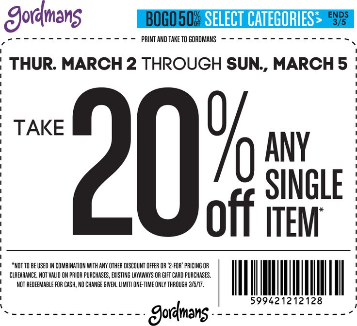 Pinned March 2nd: 20% off a single item & more at #Gordmans #TheCouponsApp
