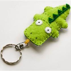 Crocodile felt keychain,...