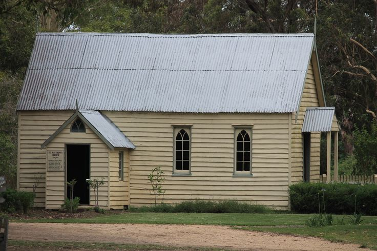 St Matthew's Church Circa 1890  Originally sited at Upper MacDonald River Valley. The Church played an important role in the pioneer's life, a place to worship, to socialise, and to hear the colony news.