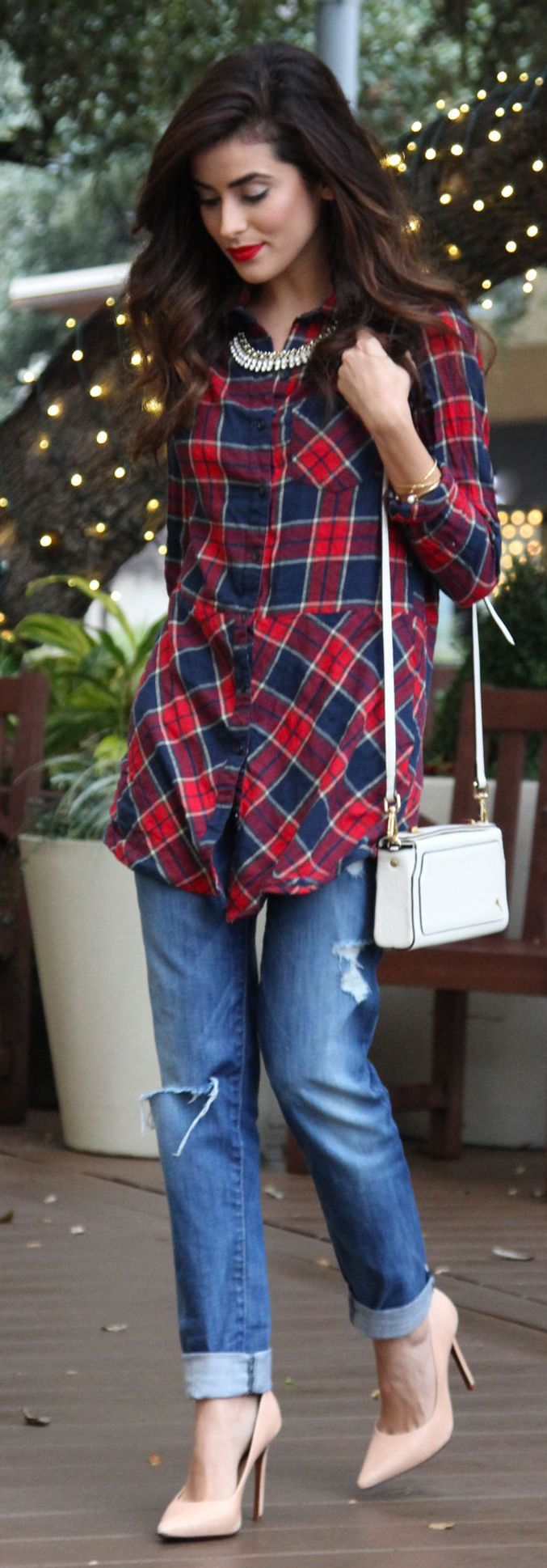 Navy And Red Tartan Tunic Dress