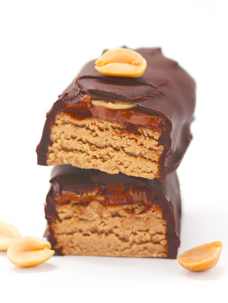 Healthy Beefcake DIY Protein Bars! They're basically Snickers candy bars — they're full of peanut butter and caramel, they're coated in chocolate, they're sweet and satisfying — but without the sugar, corn syrup, hydrogenated oil, and artificial flavorings. Instead, they're filled with natural, wholesome ingredients, and a punch of protein! (refined sugar free, high protein, high fiber, gluten free, dairy free, vegan)