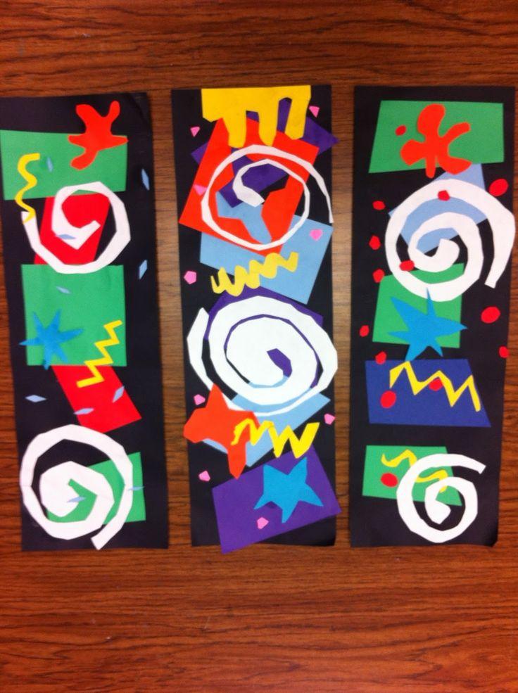 Drip, Drip, Splatter Splash: Matisse Cutouts Before starting, discuss the types of cutouts Matisse did: starburst, splash, spirals, zigzags, wavy lines. Use both positive & negative cutouts as part of final arrangement.