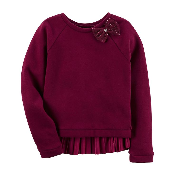 Girls 4-6X Carter's Faux-Velvet Pleated Sweater, Size: 6X, Brt Red