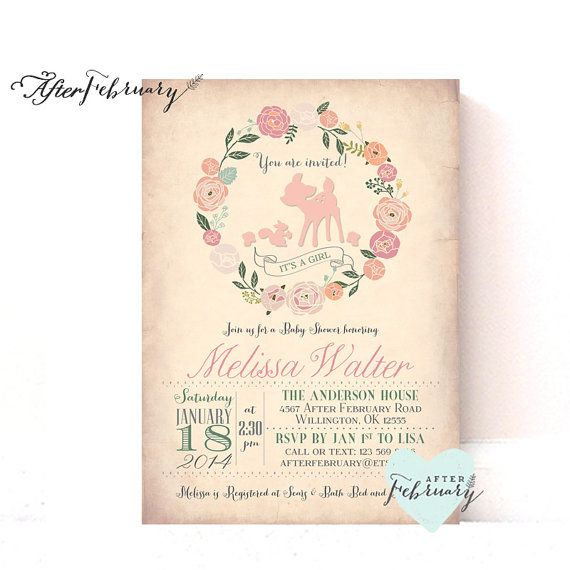 Girl Woodland Baby Shower Invitation - Baby Girl Shower Invite Deer Shower Invites - Peach Vintage Background - Typography - No.879