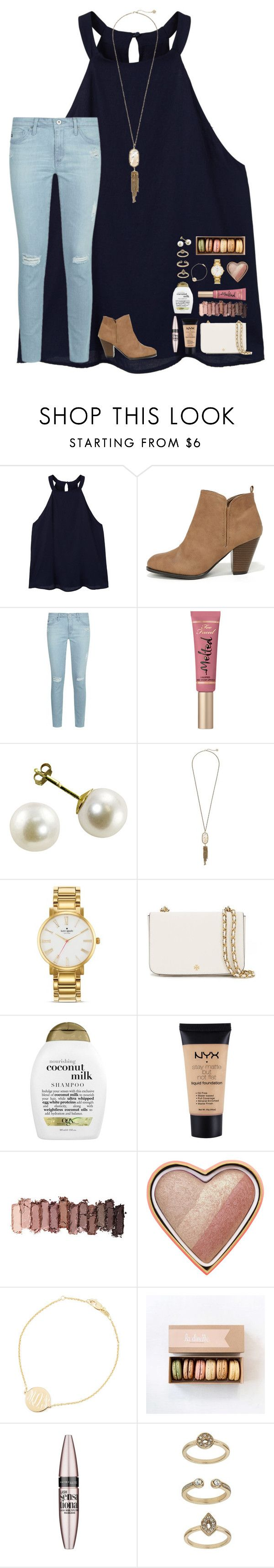 """""""➡️RTD! It's really important!⬅️"""" by lindsaygreys ❤ liked on Polyvore featuring MANGO, Qupid, AG Adriano Goldschmied, Too Faced Cosmetics, Kendra Scott, Kate Spade, Tory Burch, Organix, NYX and Urban Decay"""