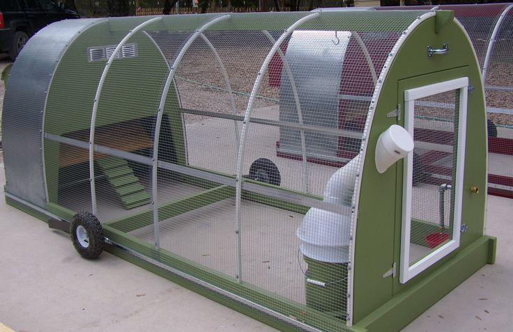 Mobile chicken coop. Free range chickens with peace of mind of protection from predators.  Not sure how it keeps out determined diggers however.
