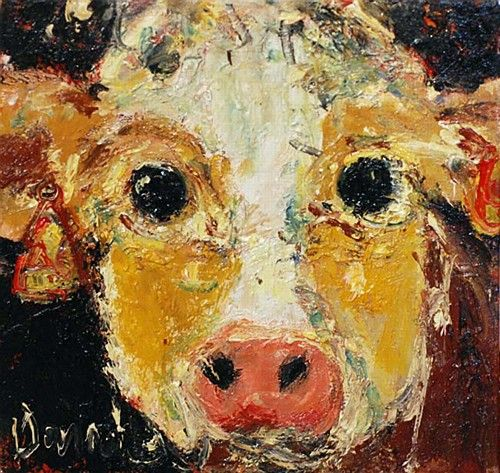 "Deborah Donnelly ""Cow"" #farmanimal #cute #farmlife #painting #art #adorable #DukeStreetGallery"