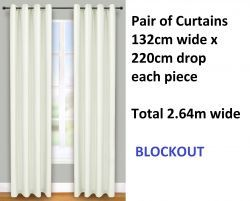 Update your home with these quality blockout curtains.  Brand new 2 pairs of curtains, each curtain 132 cm wide x 220 cm drop with eyelet top colour apple white. Thats 4 curtains in total.  Polyester material with triple pass 100% blockout coating on the back which protects the fabric on the front and means your curtains will stay good looking for longer.