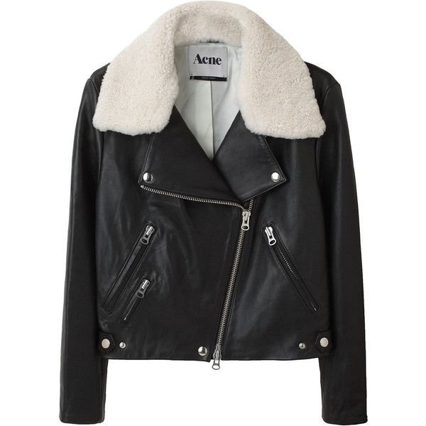 Acne Rita Leather Jacket (3,955 PEN) ❤ liked on Polyvore featuring outerwear, jackets, coats, tops, women, zipper jacket, pocket jacket, oversized denim jacket, zip jacket and motorcycle jacket